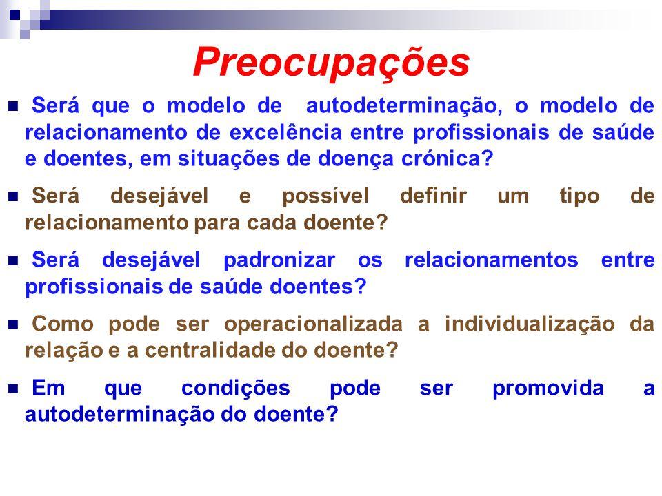 Preocupações Será que o modelo de autodeterminação, o modelo de relacionamento de excelência entre profissionais de saúde e doentes, em situações de d