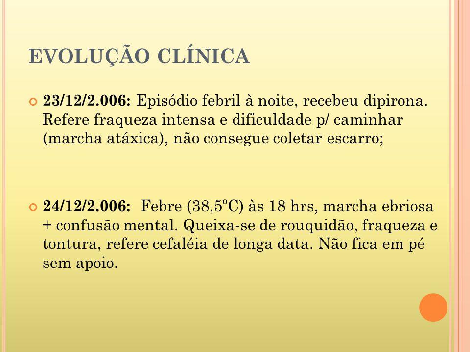 EVOLUÇÃO CLÍNICA 25/12/2.006 : Mantém estado geral e recusa alimentação.