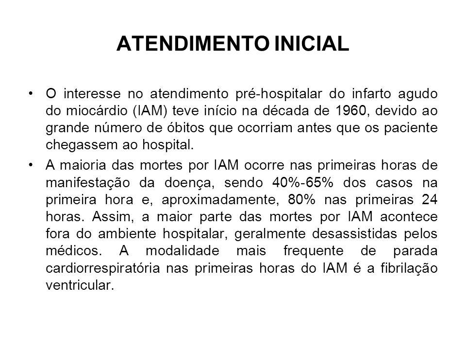 ATENDIMENTO INICIAL O interesse no atendimento pré-hospitalar do infarto agudo do miocárdio (IAM) teve início na década de 1960, devido ao grande núme