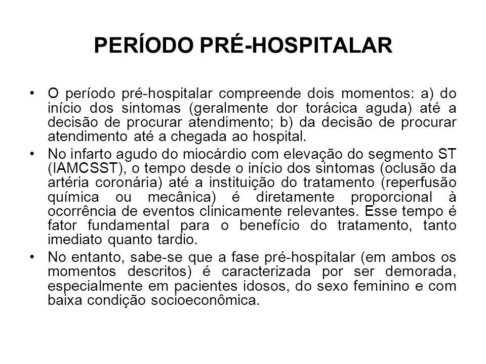 PERÍODO PRÉ-HOSPITALAR O período pré-hospitalar compreende dois momentos: a) do início dos sintomas (geralmente dor torácica aguda) até a decisão de p