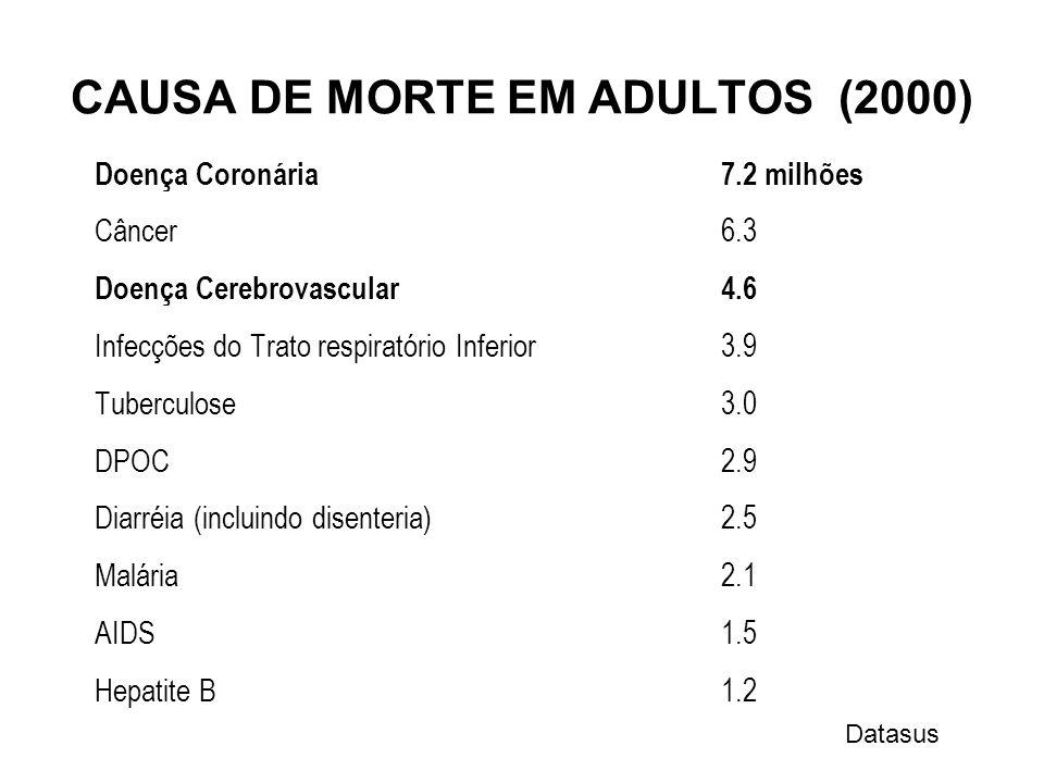 CAUSA DE MORTE EM ADULTOS (2000) Doença Coronária7.2 milhões Câncer6.3 Doença Cerebrovascular4.6 Infecções do Trato respiratório Inferior3.9 Tuberculo