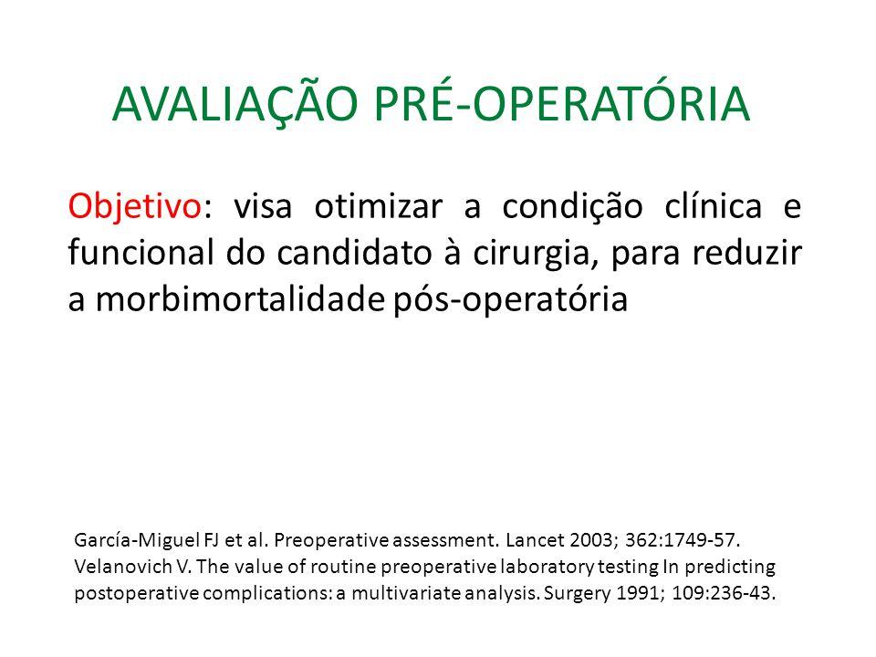 AVALIAÇÃO PRÉ-OPERATÓRIA Objetivo: visa otimizar a condição clínica e funcional do candidato à cirurgia, para reduzir a morbimortalidade pós-operatória García-Miguel FJ et al.