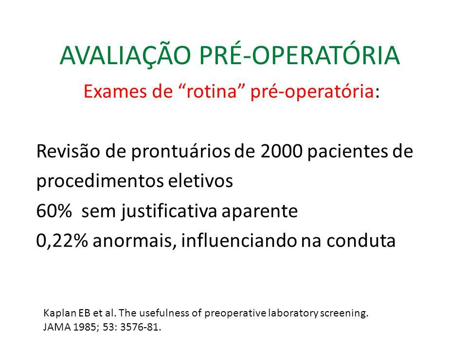 AVALIAÇÃO PRÉ-OPERATÓRIA Exames de rotina pré-operatória: Revisão de prontuários de 2000 pacientes de procedimentos eletivos 60% sem justificativa aparente 0,22% anormais, influenciando na conduta Kaplan EB et al.