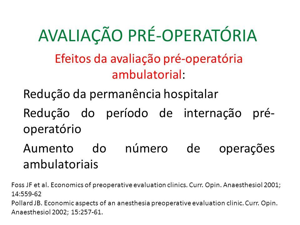 AVALIAÇÃO PRÉ-OPERATÓRIA Efeitos da avaliação pré-operatória ambulatorial: Redução da permanência hospitalar Redução do período de internação pré- operatório Aumento do número de operações ambulatoriais Foss JF et al.