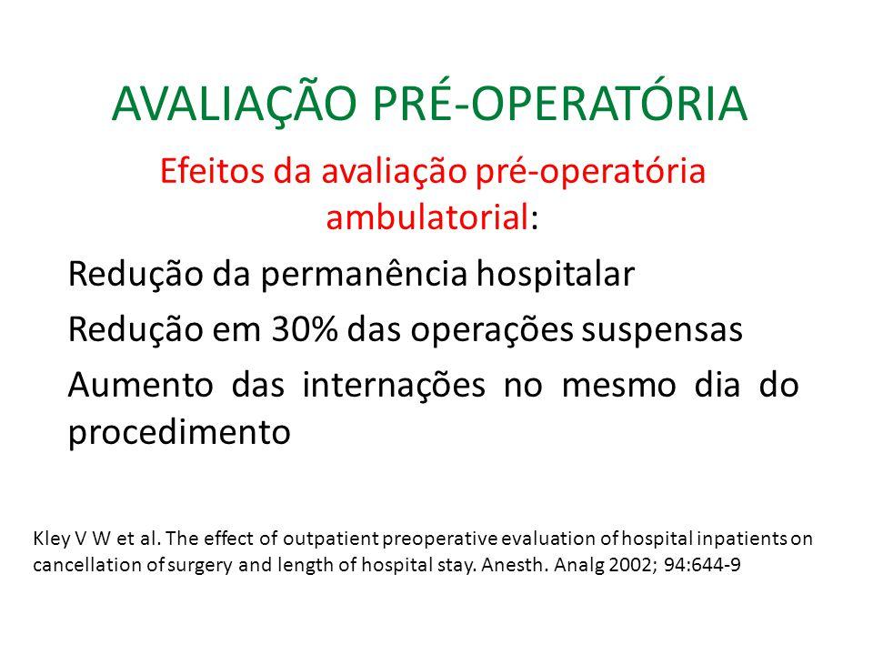 AVALIAÇÃO PRÉ-OPERATÓRIA Efeitos da avaliação pré-operatória ambulatorial: Redução da permanência hospitalar Redução em 30% das operações suspensas Aumento das internações no mesmo dia do procedimento Kley V W et al.