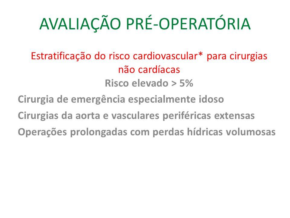 AVALIAÇÃO PRÉ-OPERATÓRIA Estratificação do risco cardiovascular* para cirurgias não cardíacas Risco elevado > 5% Cirurgia de emergência especialmente idoso Cirurgias da aorta e vasculares periféricas extensas Operações prolongadas com perdas hídricas volumosas