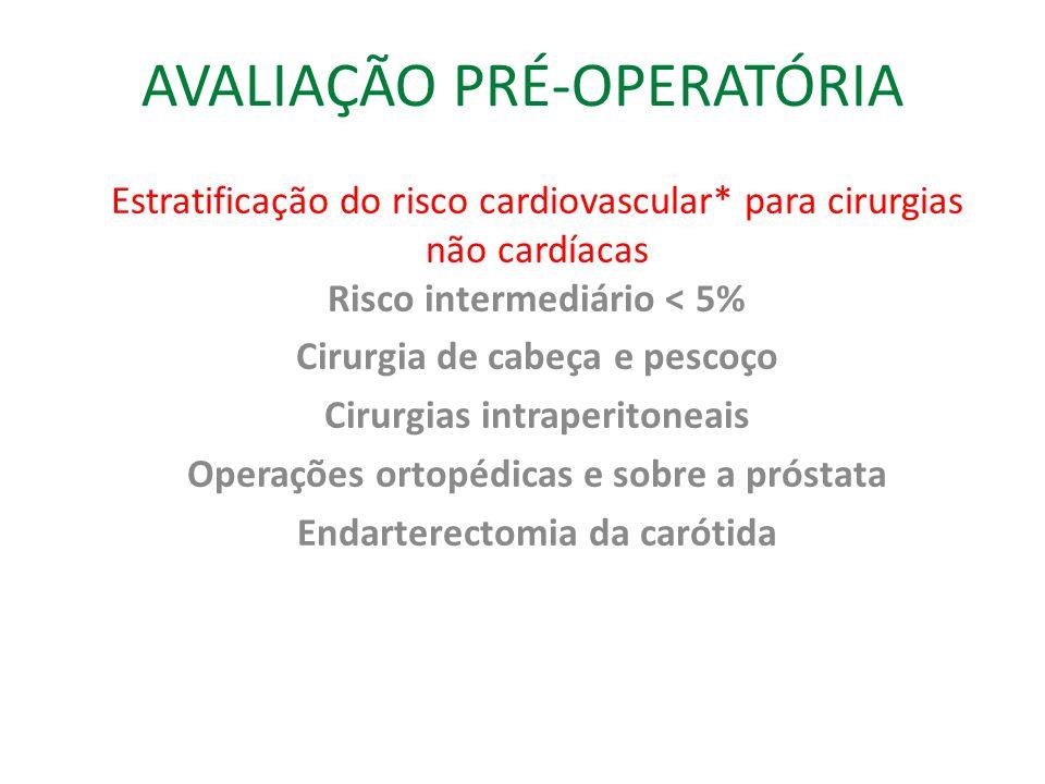 AVALIAÇÃO PRÉ-OPERATÓRIA Estratificação do risco cardiovascular* para cirurgias não cardíacas Risco intermediário < 5% Cirurgia de cabeça e pescoço Cirurgias intraperitoneais Operações ortopédicas e sobre a próstata Endarterectomia da carótida