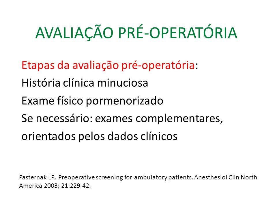 AVALIAÇÃO PRÉ-OPERATÓRIA Questionário pré-operatório Você ou algum dos seus parentes teve problemas com anestesia.