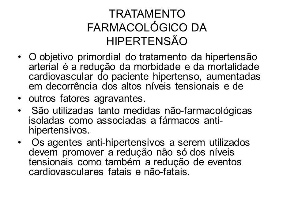 TRATAMENTO FARMACOLÓGICO DA HIPERTENSÃO O objetivo primordial do tratamento da hipertensão arterial é a redução da morbidade e da mortalidade cardiova
