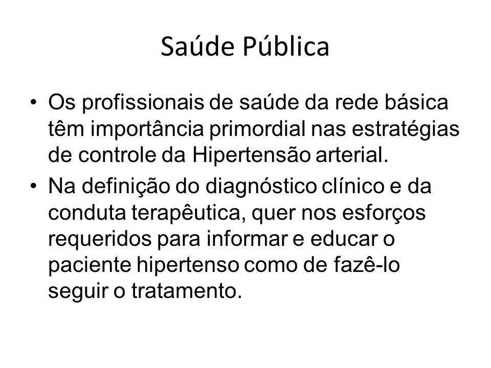Saúde Pública Os profissionais de saúde da rede básica têm importância primordial nas estratégias de controle da Hipertensão arterial. Na definição do