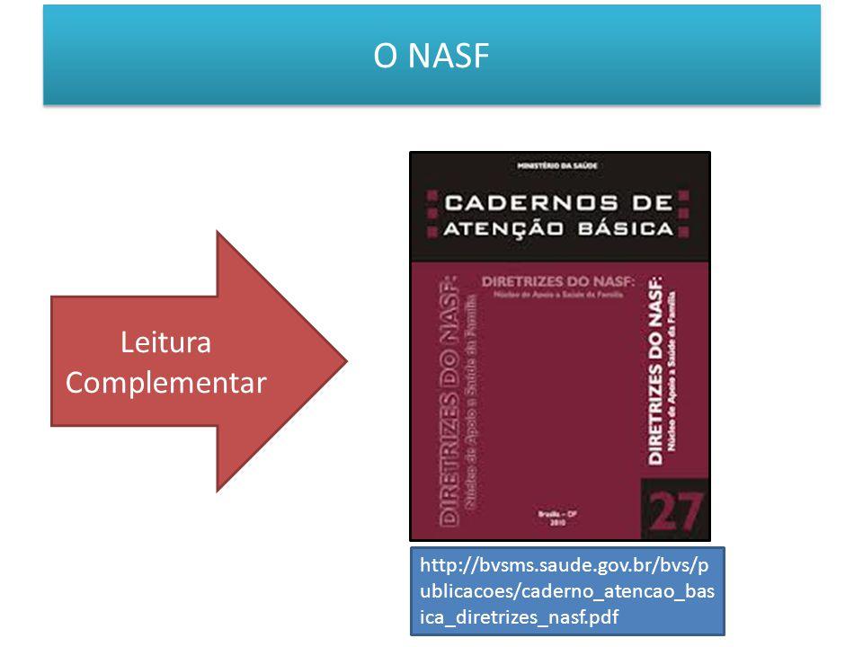O NASF Leitura Complementar http://bvsms.saude.gov.br/bvs/p ublicacoes/caderno_atencao_bas ica_diretrizes_nasf.pdf