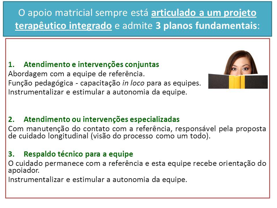 O apoio matricial sempre está articulado a um projeto terapêutico integrado e admite 3 planos fundamentais: 1.Atendimento e intervenções conjuntas Abo