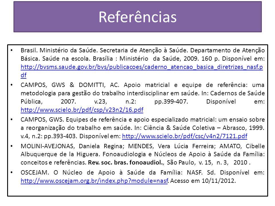 Referências Brasil. Ministério da Saúde. Secretaria de Atenção à Saúde. Departamento de Atenção Básica. Saúde na escola. Brasília : Ministério da Saúd