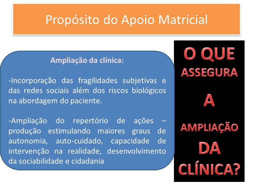 Propósito do Apoio Matricial Ampliação da clínica: -Incorporação das fragilidades subjetivas e das redes sociais além dos riscos biológicos na abordag