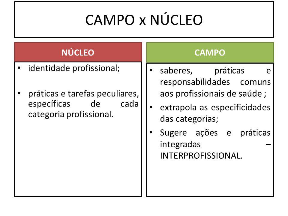 CAMPO x NÚCLEO NÚCLEOCAMPO saberes, práticas e responsabilidades comuns aos profissionais de saúde ; extrapola as especificidades das categorias; Suge
