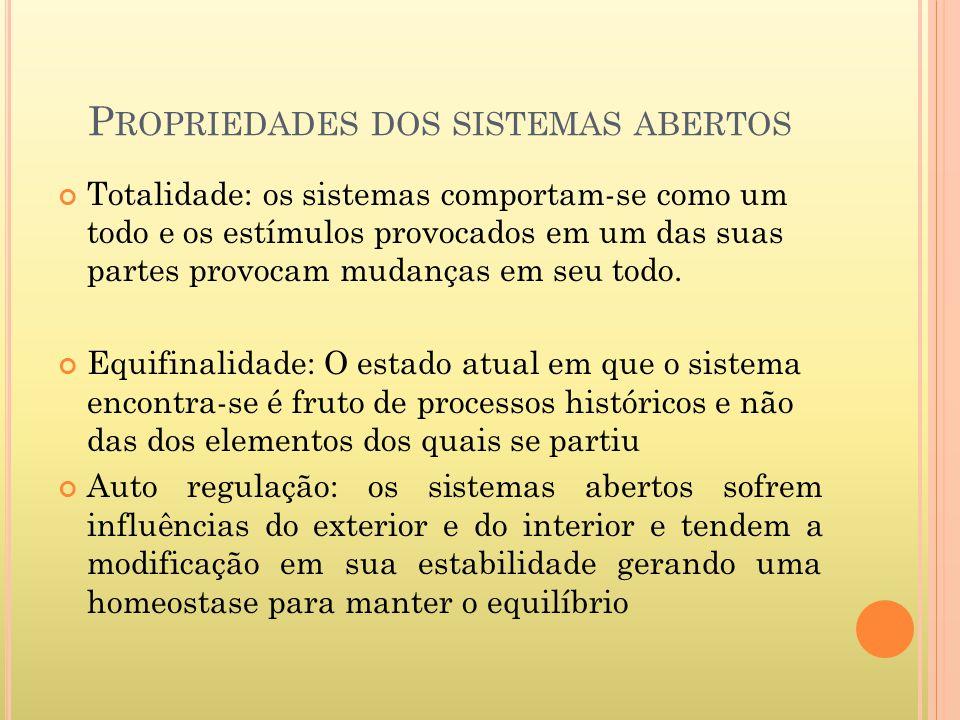 P ROPRIEDADES DOS SISTEMAS ABERTOS Totalidade: os sistemas comportam-se como um todo e os estímulos provocados em um das suas partes provocam mudanças