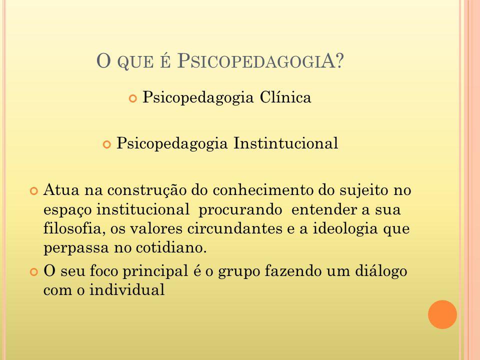 O QUE É P SICOPEDAGOGI A? Psicopedagogia Clínica Psicopedagogia Instintucional Atua na construção do conhecimento do sujeito no espaço institucional p