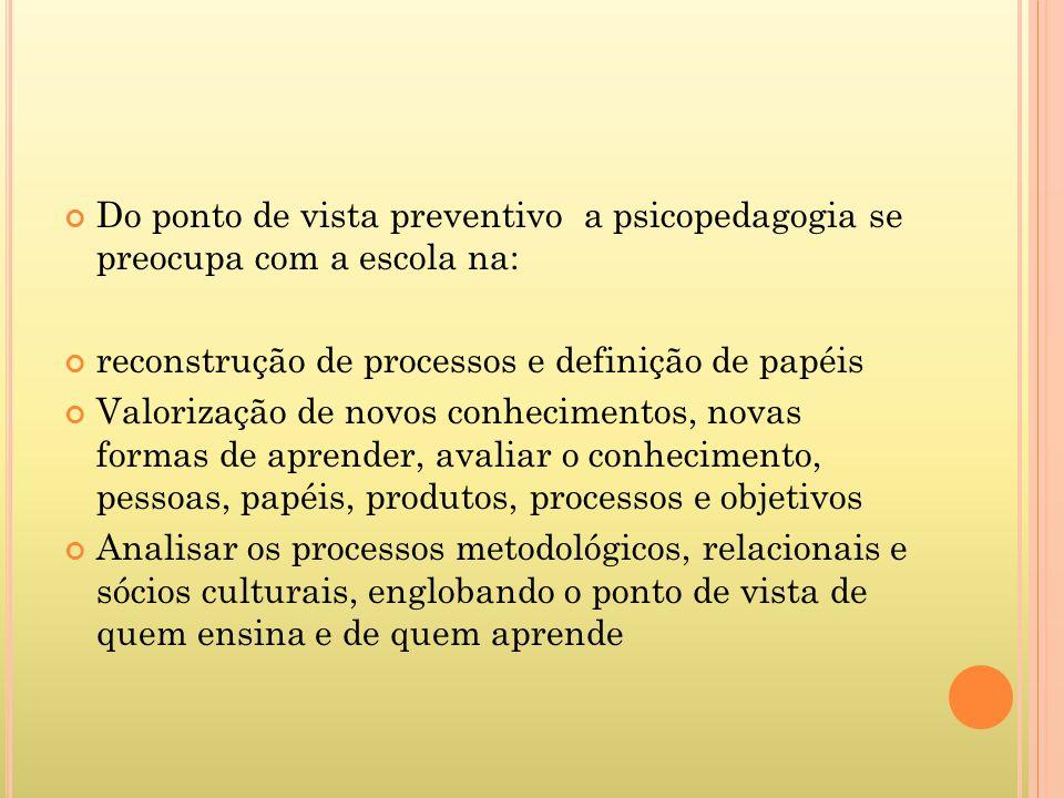 Do ponto de vista preventivo a psicopedagogia se preocupa com a escola na: reconstrução de processos e definição de papéis Valorização de novos conhec