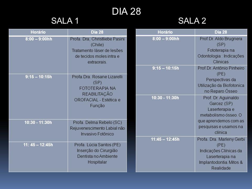 HorárioDia 28 8:00 – 9:00hh Profa. Dra, Christliebe Pasini (Chile) Tratamento láser de lesões de tecidos moles intra e extraorais. 9:15 – 10:15h Profa