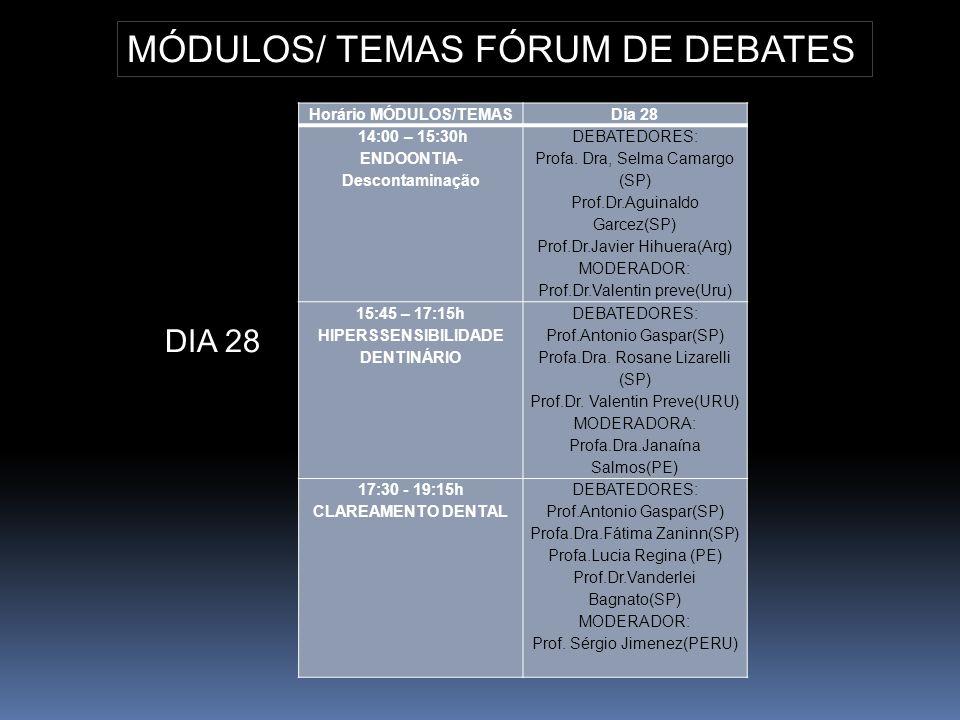 Horário MÓDULOS/TEMASDia 28 14:00 – 15:30h ENDOONTIA- Descontaminação DEBATEDORES: Profa. Dra, Selma Camargo (SP) Prof.Dr.Aguinaldo Garcez(SP) Prof.Dr