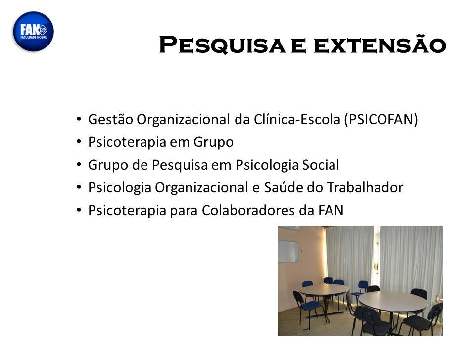 Pesquisa e extensão Gestão Organizacional da Clínica-Escola (PSICOFAN) Psicoterapia em Grupo Grupo de Pesquisa em Psicologia Social Psicologia Organiz