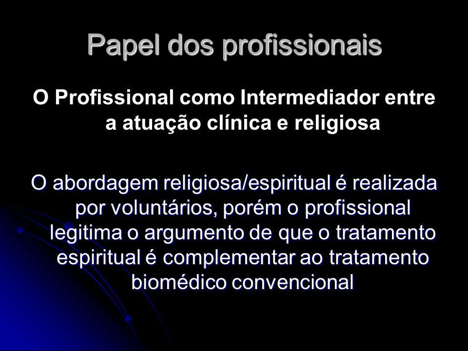 Papel dos profissionais O Profissional como Intermediador entre a atuação clínica e religiosa O abordagem religiosa/espiritual é realizada por voluntá