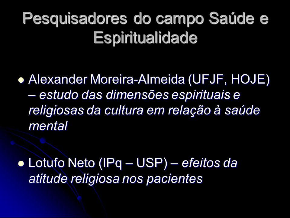 Pesquisadores do campo Saúde e Espiritualidade Alexander Moreira-Almeida (UFJF, HOJE) – estudo das dimensões espirituais e religiosas da cultura em re