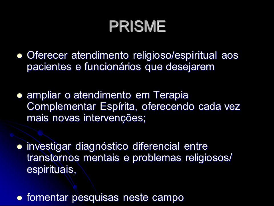 PRISME Oferecer atendimento religioso/espiritual aos pacientes e funcionários que desejarem Oferecer atendimento religioso/espiritual aos pacientes e