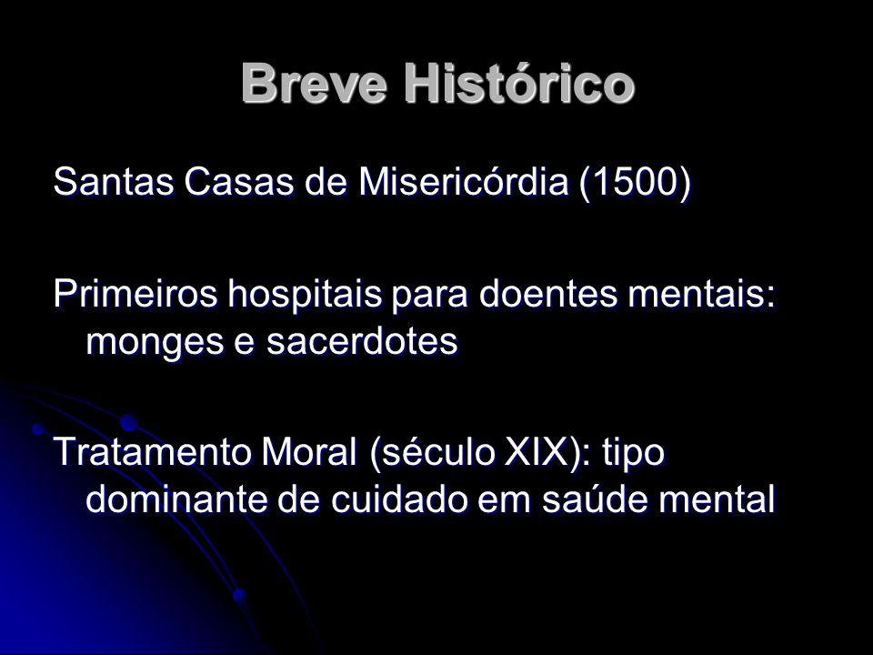 Breve Histórico Santas Casas de Misericórdia (1500) Primeiros hospitais para doentes mentais: monges e sacerdotes Tratamento Moral (século XIX): tipo