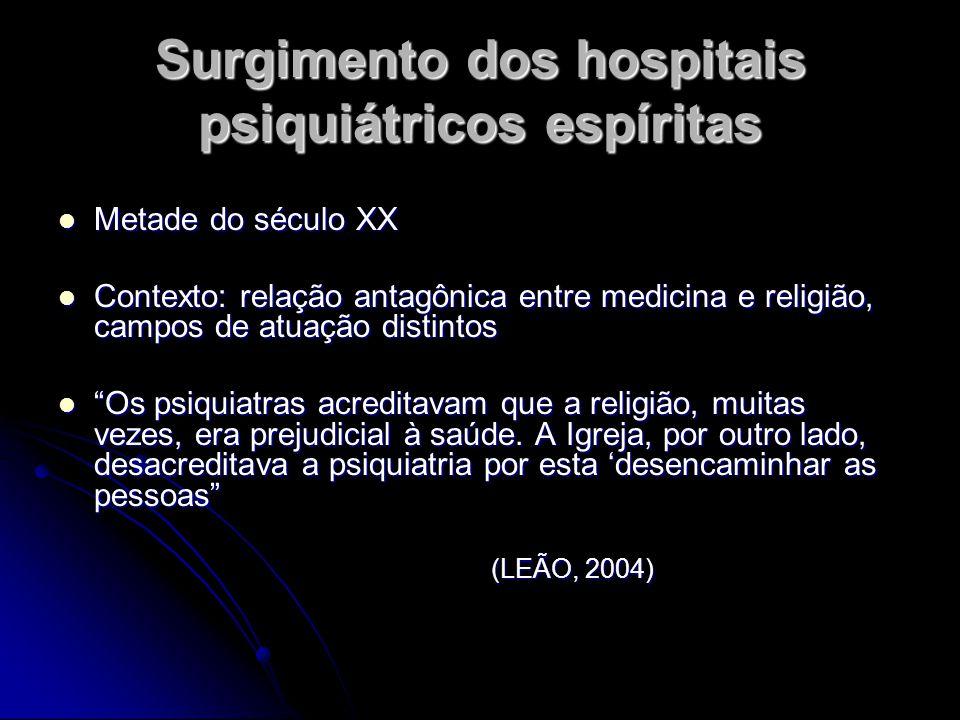 Surgimento dos hospitais psiquiátricos espíritas Metade do século XX Metade do século XX Contexto: relação antagônica entre medicina e religião, campo