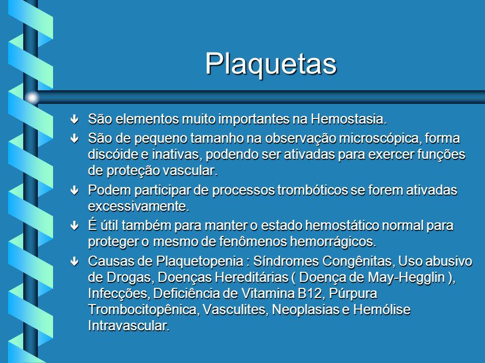 Plaquetas ê São elementos muito importantes na Hemostasia.
