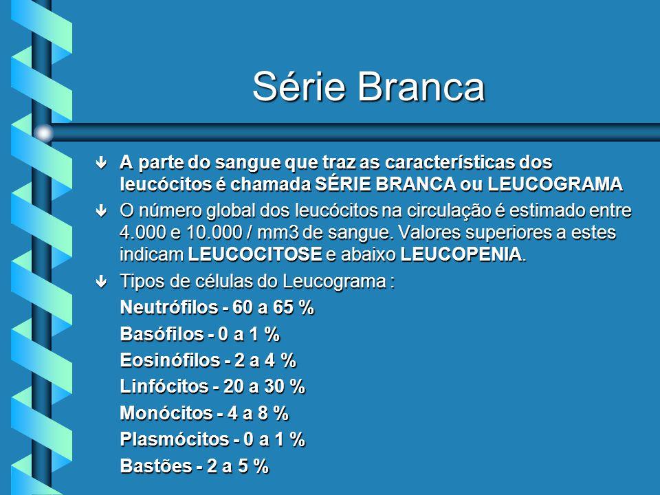 Série Branca ê A parte do sangue que traz as características dos leucócitos é chamada SÉRIE BRANCA ou LEUCOGRAMA ê O número global dos leucócitos na circulação é estimado entre 4.000 e 10.000 / mm3 de sangue.