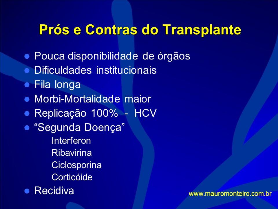 Sobrevida - 5 anos com o Transplante < 3cm 70% * 3 a 5 cm 41% > 5 cm 35% 1 nódulo 68% 2 a 3 nódulos 55% > 3 nódulos 42% * Relatada em séries orientais