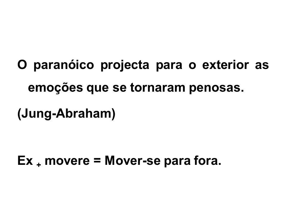 O paranóico projecta para o exterior as emoções que se tornaram penosas. (Jung-Abraham) Ex + movere = Mover-se para fora.