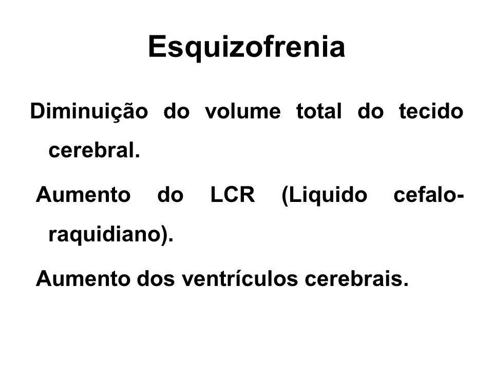 Esquizofrenia Diminuição do volume total do tecido cerebral. Aumento do LCR (Liquido cefalo- raquidiano). Aumento dos ventrículos cerebrais.