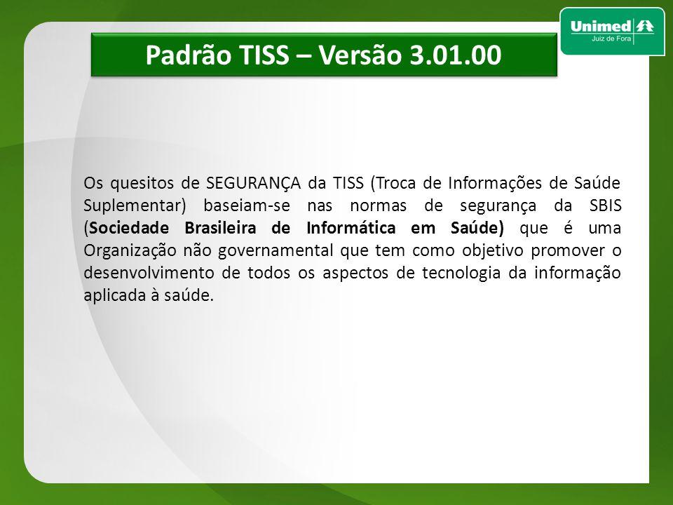 w w Padrão TISS – Versão 3.01.00 Os quesitos de SEGURANÇA da TISS (Troca de Informações de Saúde Suplementar) baseiam-se nas normas de segurança da SB