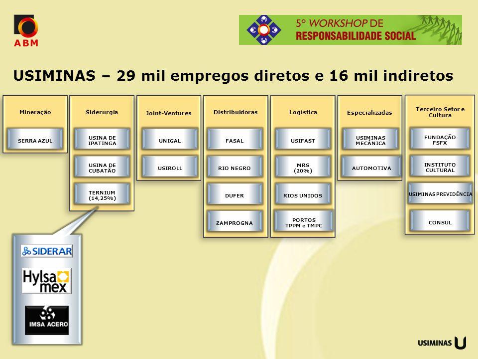 USIMINAS – 29 mil empregos diretos e 16 mil indiretos Siderurgia USINA DE IPATINGA USINA DE CUBATÃO TERNIUM (14,25%) Especializadas USIMINAS MECÂNICA