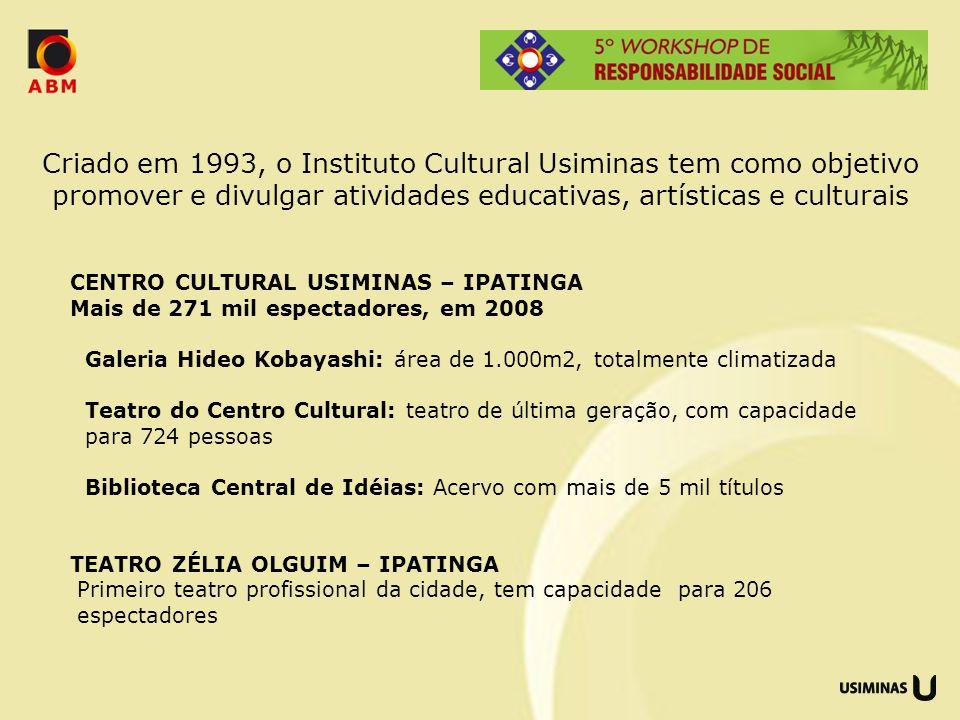 Criado em 1993, o Instituto Cultural Usiminas tem como objetivo promover e divulgar atividades educativas, artísticas e culturais CENTRO CULTURAL USIM