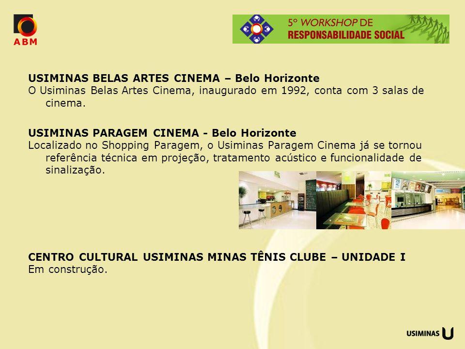 USIMINAS BELAS ARTES CINEMA – Belo Horizonte O Usiminas Belas Artes Cinema, inaugurado em 1992, conta com 3 salas de cinema. USIMINAS PARAGEM CINEMA -