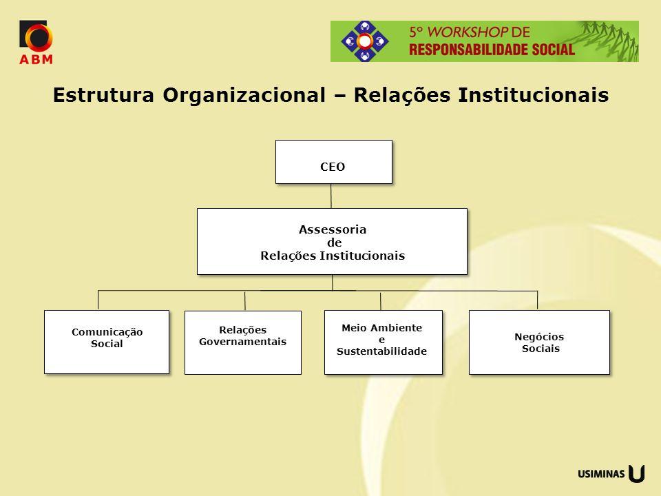 Estrutura Organizacional – Relações Institucionais Assessoria de Relações Institucionais Comunicação Social Meio Ambiente e Sustentabilidade Relações