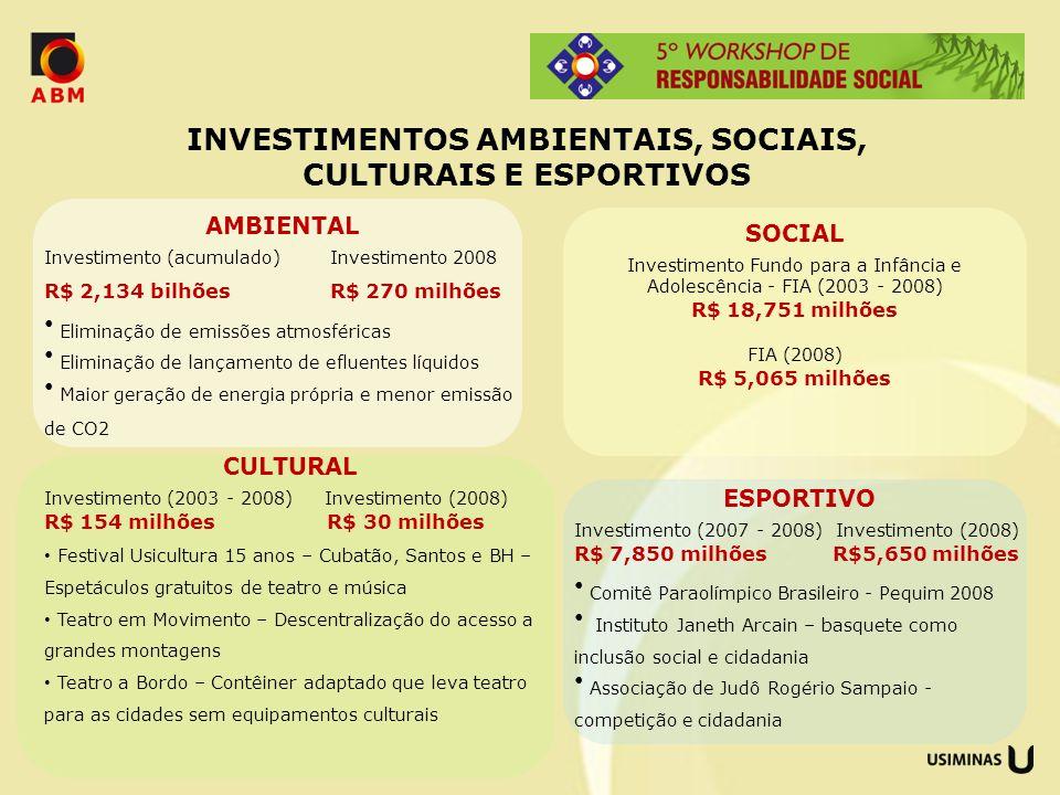 CULTURAL Investimento (2003 - 2008) Investimento (2008) R$ 154 milhões R$ 30 milhões Festival Usicultura 15 anos – Cubatão, Santos e BH – Espetáculos