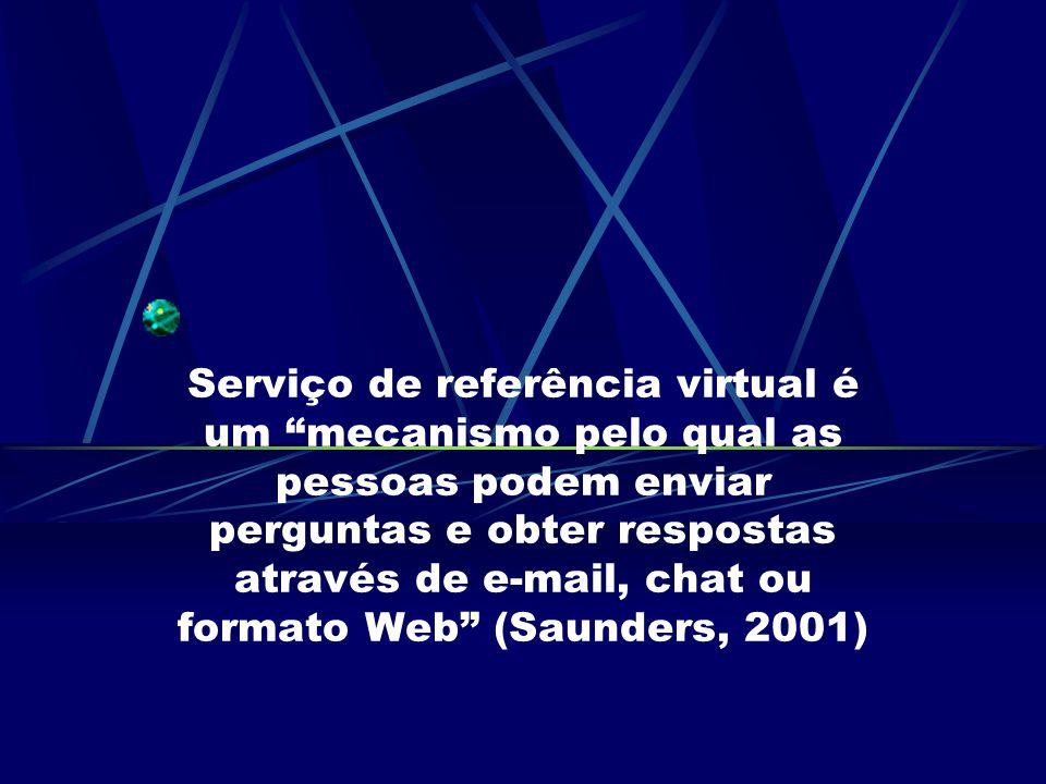 Serviço de referência virtual é um mecanismo pelo qual as pessoas podem enviar perguntas e obter respostas através de e-mail, chat ou formato Web (Sau