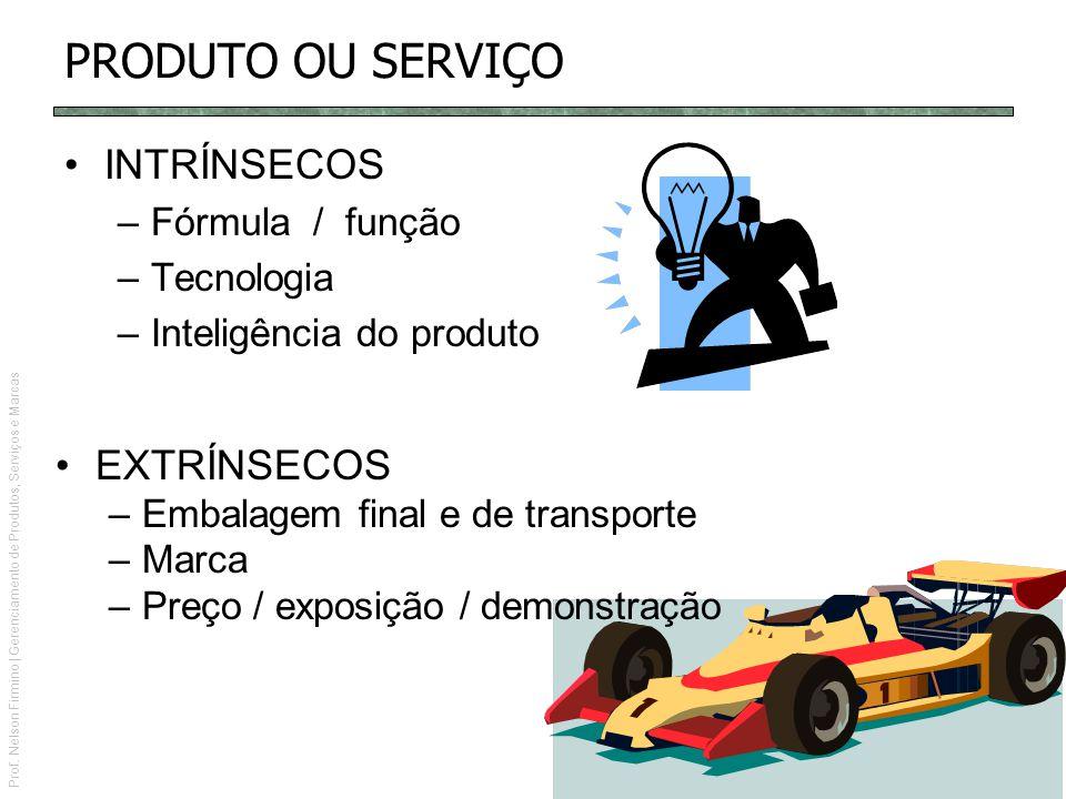Prof. Nelson Firmino | Gerenciamento de Produtos, Serviços e Marcas PRODUTO OU SERVIÇO INTRÍNSECOS –Fórmula / função –Tecnologia –Inteligência do prod