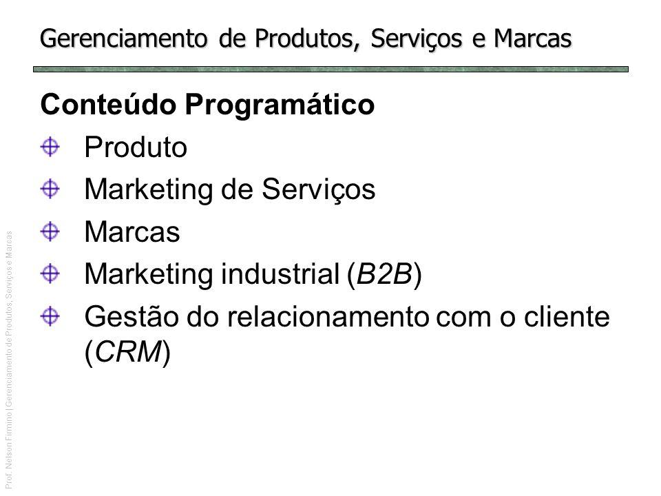 Prof. Nelson Firmino | Gerenciamento de Produtos, Serviços e Marcas Gerenciamento de Produtos, Serviços e Marcas Conteúdo Programático Produto Marketi