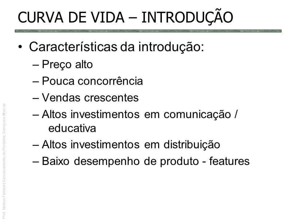 Prof. Nelson Firmino | Gerenciamento de Produtos, Serviços e Marcas CURVA DE VIDA – INTRODUÇÃO Características da introdução: –Preço alto –Pouca conco