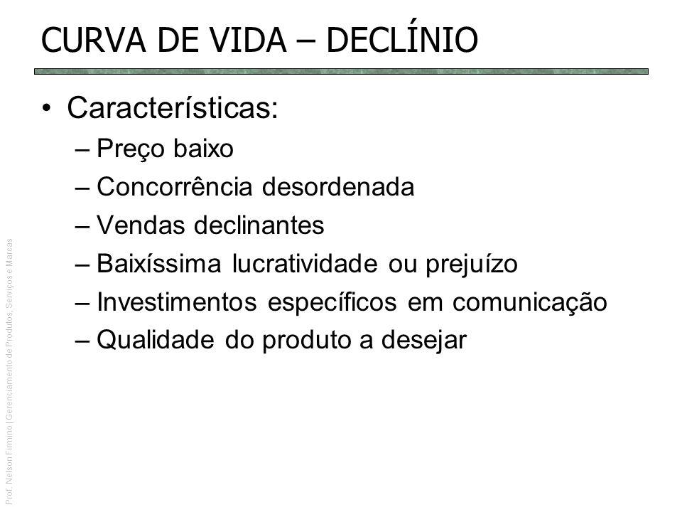 Prof. Nelson Firmino | Gerenciamento de Produtos, Serviços e Marcas CURVA DE VIDA – DECLÍNIO Características: –Preço baixo –Concorrência desordenada –