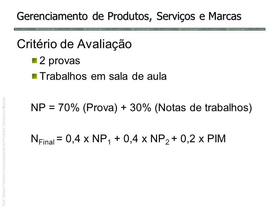 Prof. Nelson Firmino | Gerenciamento de Produtos, Serviços e Marcas Gerenciamento de Produtos, Serviços e Marcas Critério de Avaliação 2 provas Trabal