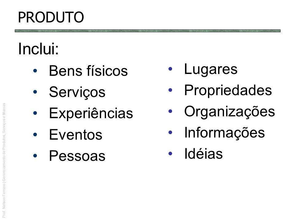 Prof. Nelson Firmino | Gerenciamento de Produtos, Serviços e Marcas PRODUTO Inclui: Bens físicos Serviços Experiências Eventos Pessoas Lugares Proprie