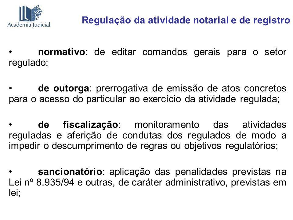 Regulação da atividade notarial e de registro normativo: de editar comandos gerais para o setor regulado; de outorga: prerrogativa de emissão de atos