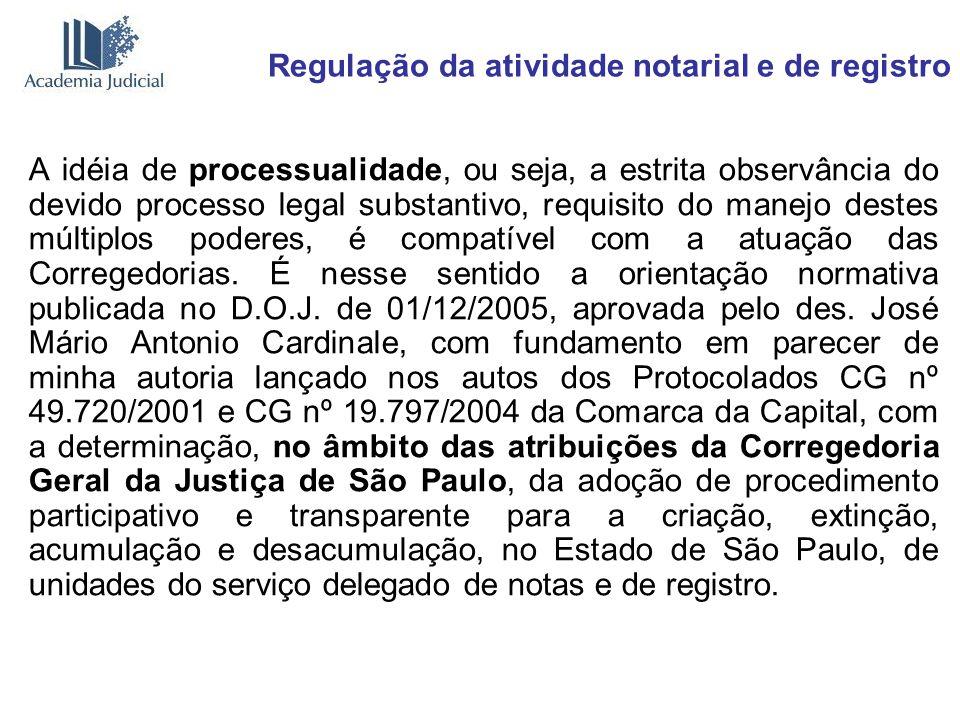 Regulação da atividade notarial e de registro A idéia de processualidade, ou seja, a estrita observância do devido processo legal substantivo, requisi